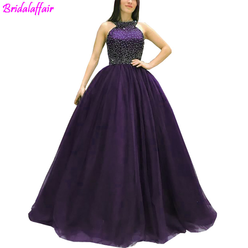 2019 Purple A Line Tulle   Prom     Dresses   Halter Cross Straps Back Beaded Floor Length Evening   Dresses   Lace Up   Prom   Gowns