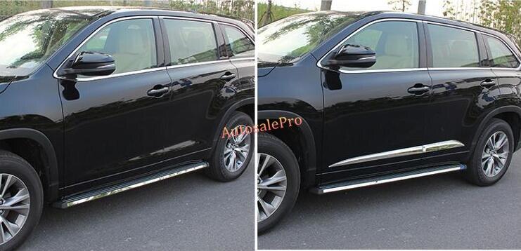 ABS Chrome side door body molding cover trim 4pcs for Toyota Highlander 2014 2015 2016