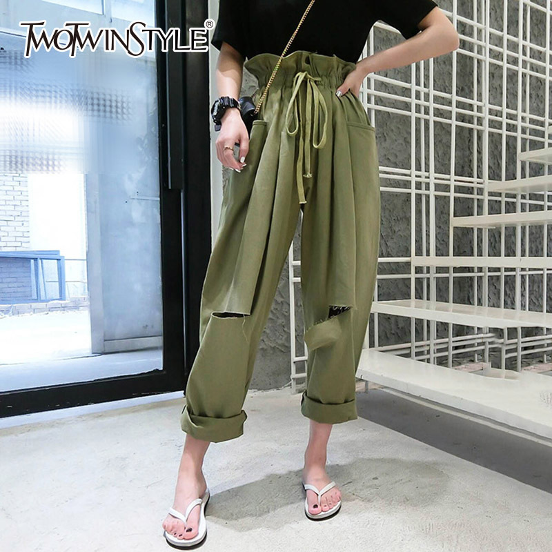 TWOTWINSTYLE Haren Pants For Women Draw String Lace Up High Waist Ruffles Hole Pocket Long Trousers Summer Harajuku New Clothes