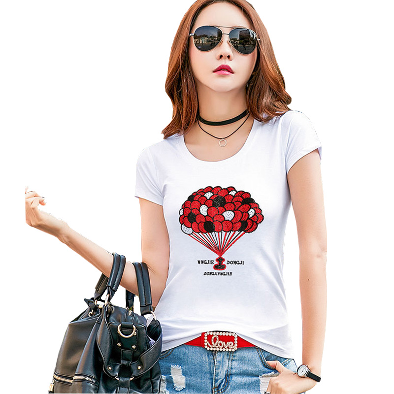 Shintimes Camisetas Mujer 2019 Summer Fashion Short Sleeve Cotton Tshirt Diamonds Tee Shirt Femme White Slim T shirt Ladies Tops in T Shirts from Women 39 s Clothing