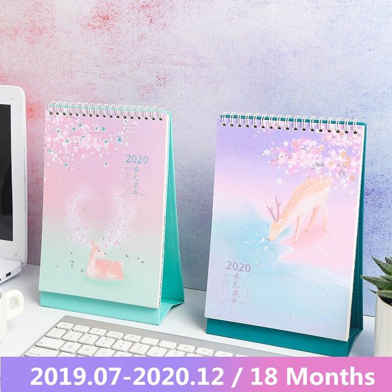 New 2020 Lovely Deer And Flower Desk Calendar Daily Schedule Planner Cartoon Table Calendar 2019.07-2020.12