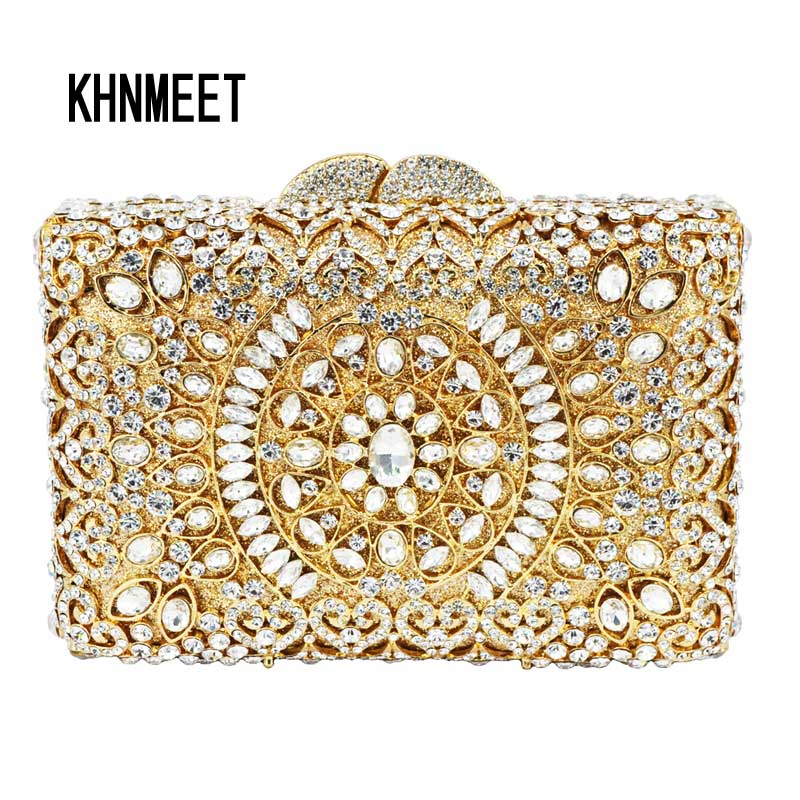 Golden Women Box Shape diamante banquet Bag Purse Silver Luxury diamond crystal evening bag ladies clutch bag SC121 brand designer luxury crystal multicolor clutch bag women diamond evening bag golden oval wedding banquet purse handbags sc467