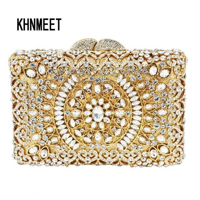 416cd7ef57 Scatola d'oro Delle Donne Forma diamante Borsa banchetto Borsa Argento  diamante Di Lusso di