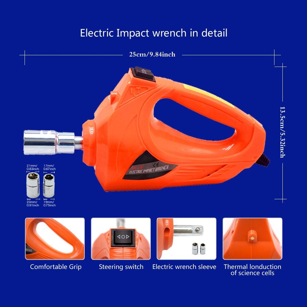 Gato hidráulico eléctrico de 12V y 5 toneladas, neumático portátil, llave de impacto, llave de impacto, Inflador de neumáticos, luz LED 4 en 1 - 3