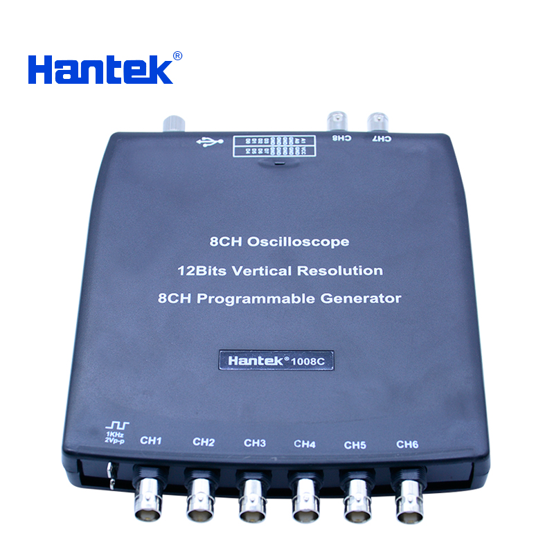 Hantek 1008C Digital Oscilloscope 8CH PC USB Automotive Diagnostic DAQ Program Generator 8CH 2.4MSa/s vehicle tester осциллограф hantek 6022be usb storag 2channels 20 48msa s