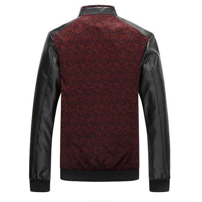 Брендовые мужские куртки и пальто из искусственной кожи в стиле пэчворк, мужская куртка со стоячим воротником, мужская верхняя одежда jaqueta masculina