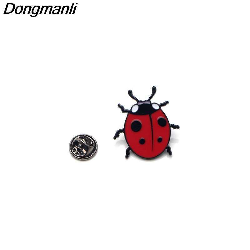 P2718 Dongmanli Carino red ladybug Dello Smalto Spilli e Spille per Le Donne Degli Uomini del Risvolto Spille zaino distintivo per bambini regali