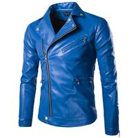 Fashion Mens Leather Jackets Blue/Black Slim Fitted Blouson Jackets Coats Designer Punk Biker Jackets for Men Spring 5XL