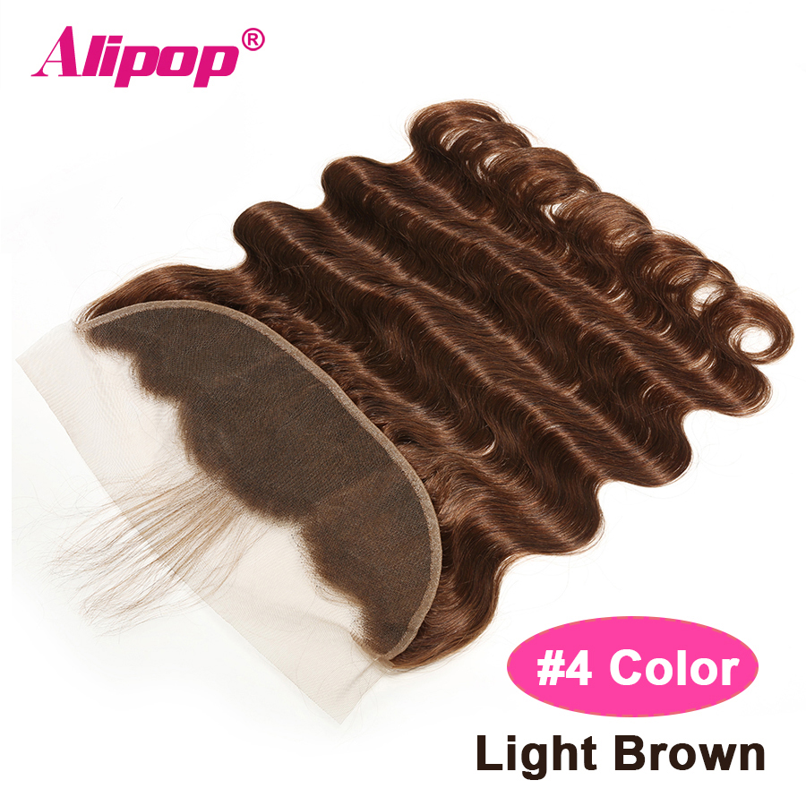 #2 #4 Brown Frontal 10-24 Inches Brazilian Remy Human Hair 13x4 Lace Frontal Body Wave PrePlucked Frontal With Baby Hair ALIPOP (18)