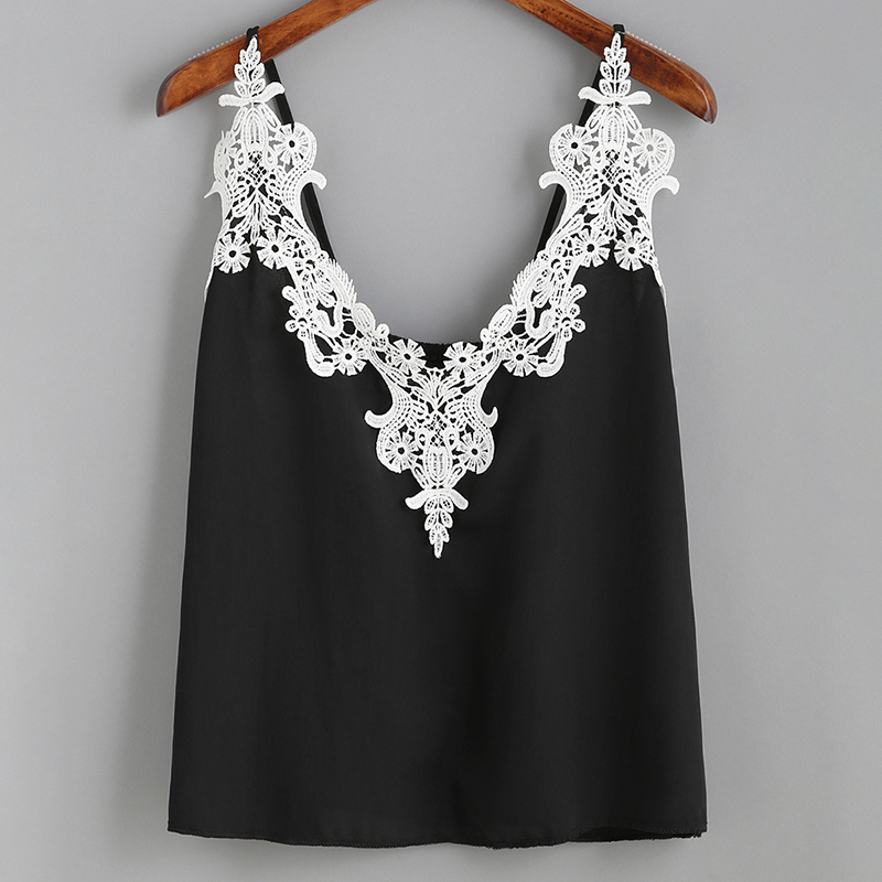 Women Lace Vest Top Sleeveless Deep V-neck Patchwork Lace Casual Tees Vest Summer Women Sexy Backless Camis Tops Ladies KH844901