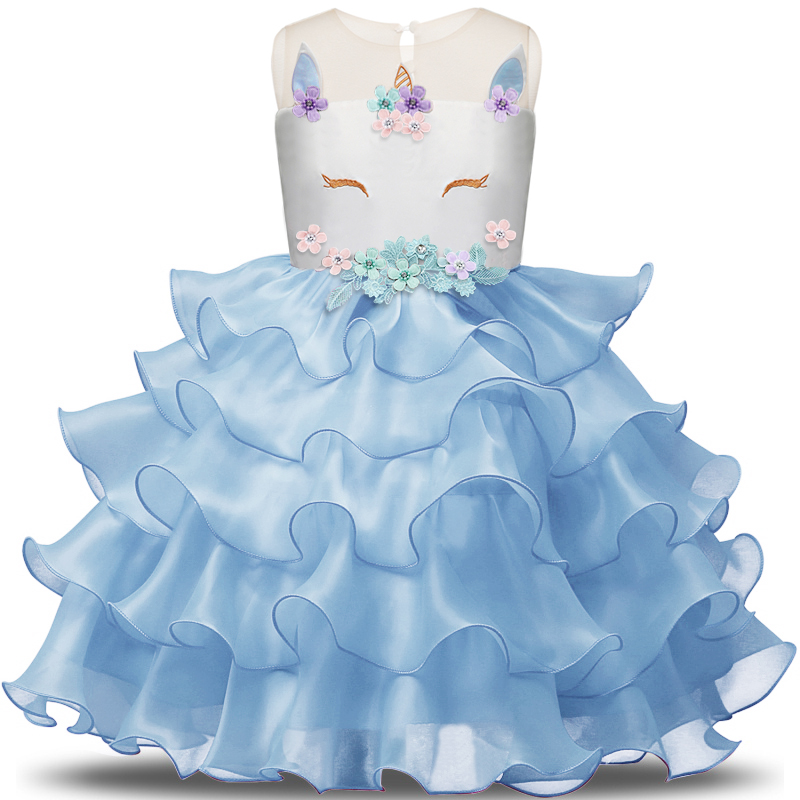 Fancy Kids Unicorn Tulle Layered Dress for Girls Embroidery Ball Gown Baby Flower Girl Princess Dresses Wedding Party Costumes 2018 kids summer unicorn dress for girls embroidery flower ball gown baby girl princess dresses for party unicornio costumes