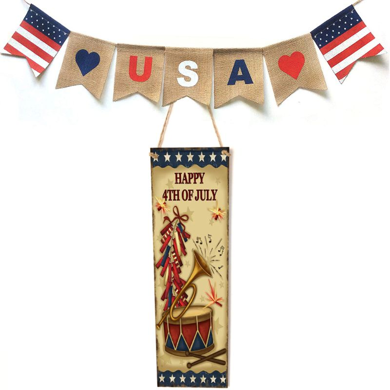 Image 2 - Rustic Wooden Happy 4th Of July Horn Sign Plaque Independence Day Collection Gift Home Decoration-in Plaques & Signs from Home & Garden