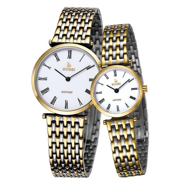 BUREI Simples Homens mulheres Relógio Vidro de Safira Ouro Wrsitwatch Relógio de Aço À Prova D' Água Moda Amantes Casuais relógios de Quartzo Casal