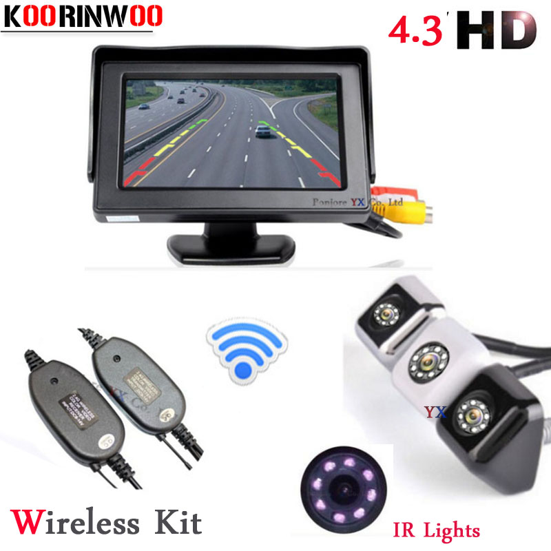 Koorinwoo Wireless Adopter 4.3inch TFT-LCD Video Monitor CCD Car Rear view Camera BackUp 8 Lights Reverse Cam Parking System цена