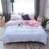 Choiceness Cartoon Bedding Set Twin Queen King Size Bed Linen Pink Huskie Elk Fox Duvet Cover Set Cute Bed Sheet Kids Bedding