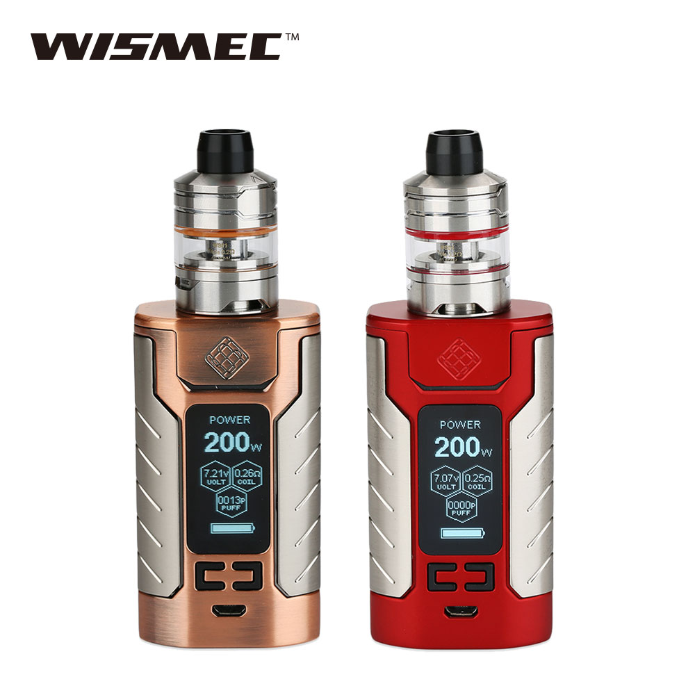 Original 200W WISMEC SINUOUS FJ200 TC Kit 2ml/4ml Divider Atomizer Fj200 Battery 4600mAh/200W E-cigarette Vape Kit 1.3-inch