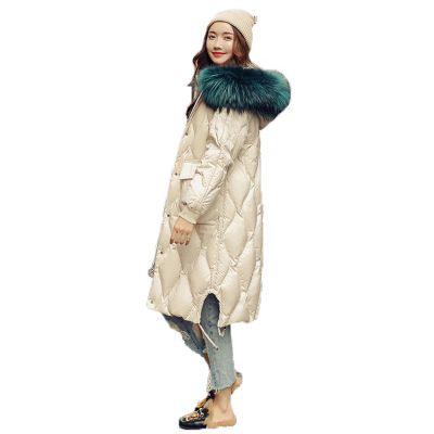 Casual White Duck   Down     Coat   Female Winter Jacket Women Fashion European Long Loose Plus Size Real Racoon Fur Collar Parka B567