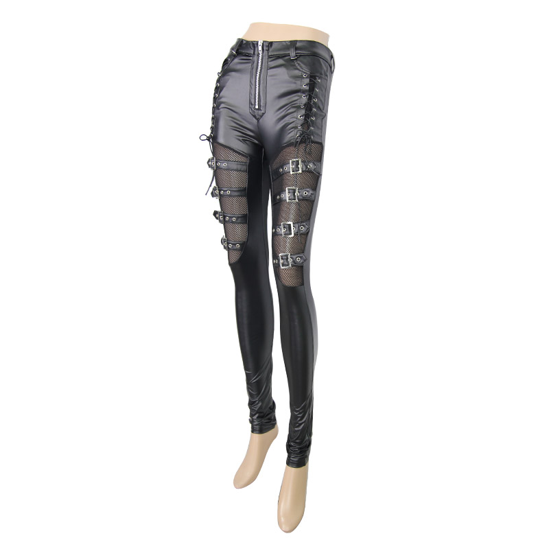 Steampunk Faux Leather Women's Pants