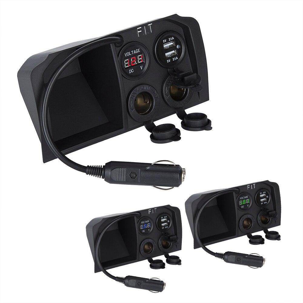 Livraison directe tension 2 prise voiture double USB chargeur adaptateur prise 5 V 2.1A Interface allume-cigare pour Honda Fit