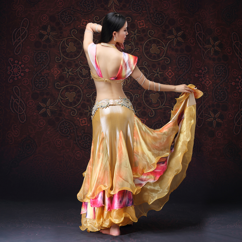 for oriental dance Women Dancewear Belly Dancing Clothes Oriental Dance Outfits Bra Belt Skirt Belly Dance Beaded Costume Golden in Belly Dancing from Novelty Special Use
