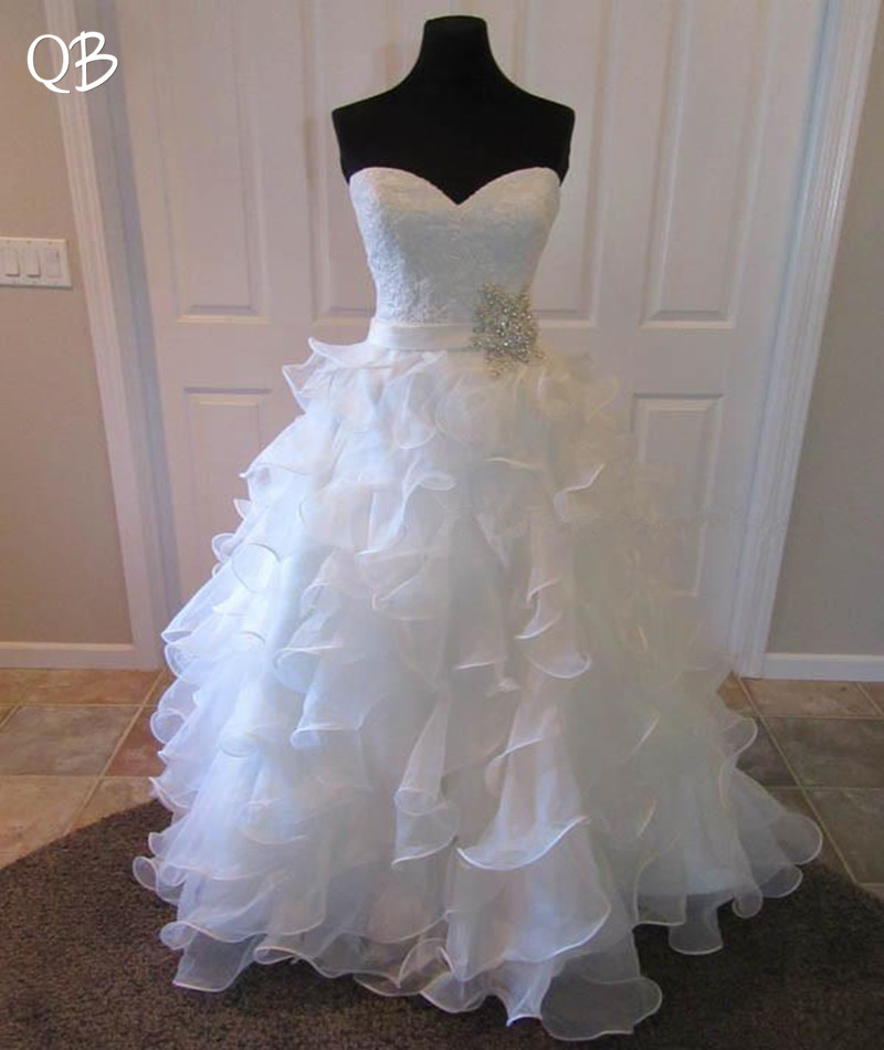 100% Real Photo Ball Gown Sweetheart Crystal Sash Ruffle Lace Luxury Formal Wedding Dresses Bridal 2019 New Wedding Gowns  XL10M