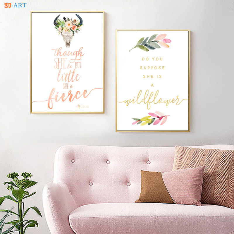 Bereidwillig Wildflower Poster Canvas Schilderij Citaten Prints Grillige Boho Nursery Muur Art Meisjes Kamer Decor Home Decoration