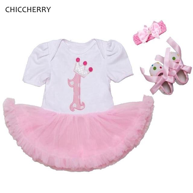 cd4b89e0a Pink Crown Princess 1 Year Birthday Baby Dress 3pcs Infant Lace Tutu Set  Bow Headband