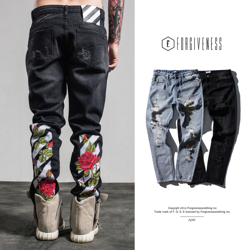 2017 Spring and Summer New Tide Brand Men's Embroidered Rose Wash Water Hole Jeans Jeans for Male Fashion Good Quality Jean the new spring and summer 2016 hole