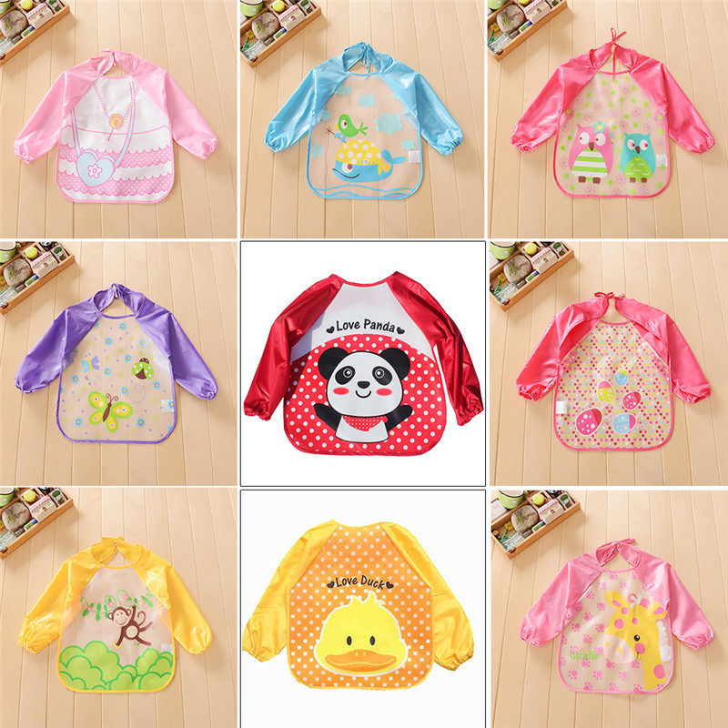 New Children Bib Baby Waterproof Long Sleeve Bib Art Painting Bibs Apron Cartoon Soft Bib Feeding Clothing 9 Types