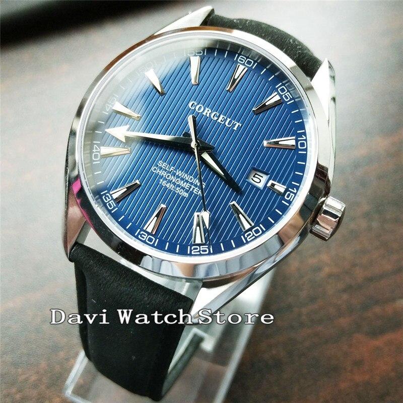 Corgeut azul Dial negro Correa simple capa salvaje reloj para hombre 2750-in Relojes mecánicos from Relojes de pulsera    1