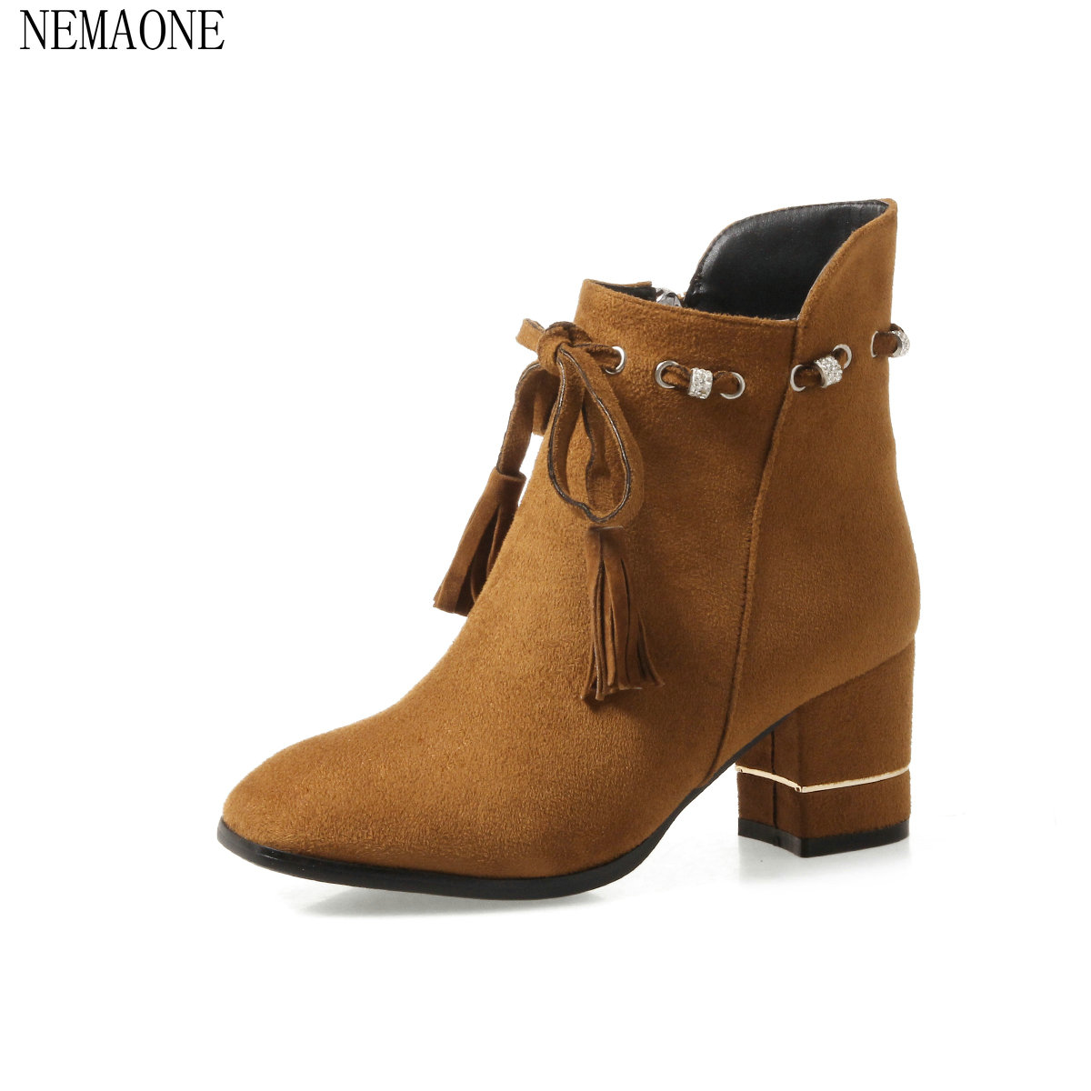 NEMAONE 2018 Women Boots Short Zipper Square High Heels Ankle Boots Western Style Pointed Toe Ladies Boots Shoes Size 34-43 цены онлайн