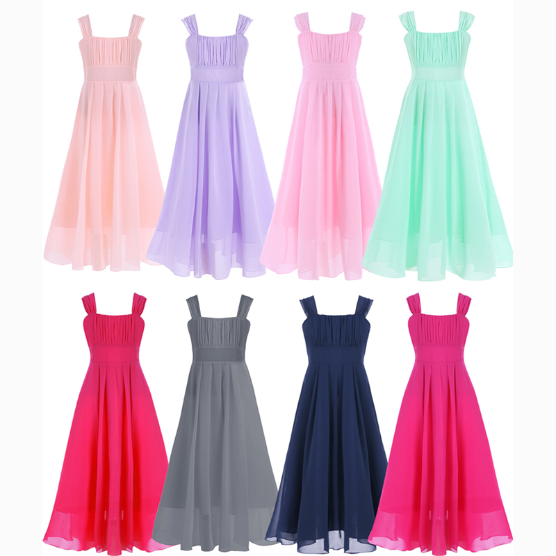 Newest Sleeveless   Flower     Girls     Dress   Wedding Party Bridesmaid Maxi   Dress   Long Princess   Dress   Ball Gown   Girl   Elegant Formal   Dress