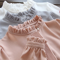 2016 new Women spring Chiffon Shirt Blouse White/gray/pink Basic Shirt Ladies Stand Collar Ruffles Blusas Femininas G187
