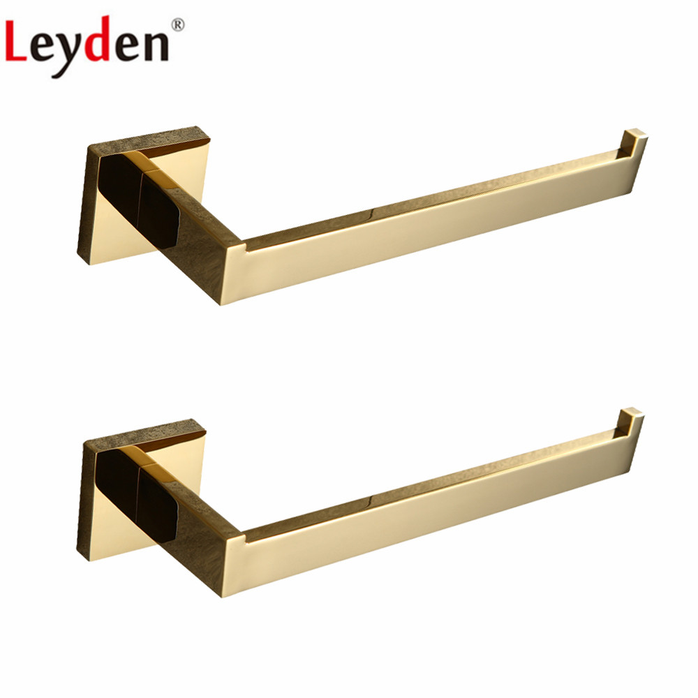 Leyden 2pcs a Lot Gold 304 Stainless Steel Towel Ring Sets For Bathroom Wall Mounted Towel Holder Bathroom Accessories Set leyden premium sus 304 stainless steel brushed nickel towel ring towel hanger wall mounted square style bathroom accessories