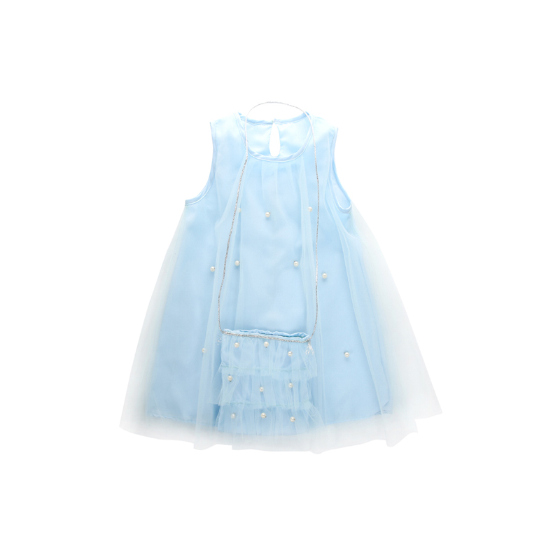 2017 Fashion Cute Infant Baby Girl Sleeveless O-Neck Straight Blue Beading Lace Dress Sundress With Bag Outfit Summer Party 1-7Y bordeaux high neck sleeveless gilet outfit