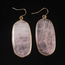 XSM New Stylish 18K Gold Plated Rose Quartz Ellipse Dangle Earrings For Women Fashion Jewelry stylish gold plated filigree pumpkin car hairband for women