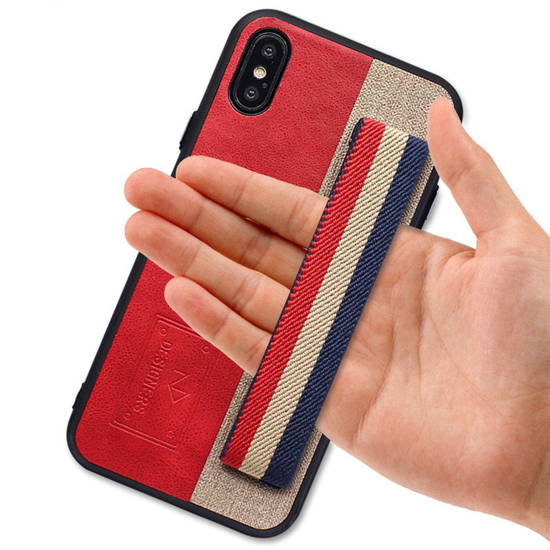Business PU Leather Phone Cases For Iphone X 7 8 6 6S Plus Hide Hand Strap Soft Back Cover For Iphone 7 Shockproof Coque