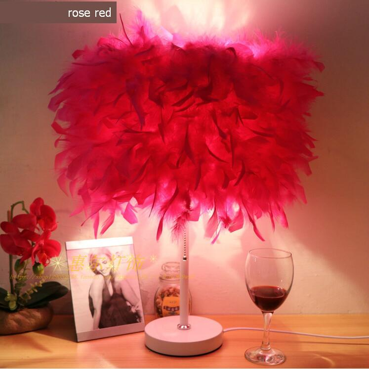 NEW European style feather table lamp wedding celebration decorative lamp bedroom bedside creative living room lighting bedroom bedside lamp european style garden lace wedding celebration cloth decoration gift new red lamp