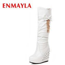 Platform Boots Shoer Round Toe High Bowtie Knee-High Boots Winter Black white Apricot warm Knight boots Women Long shoes wetkiss buckle knee high boots thick high heels knight boots platform shoes woman autumn winter boots cool winter shoes woman