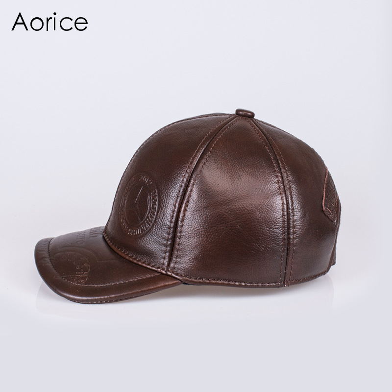 Aorice Autunno Inverno Uomo Berretti Da Baseball In Vera Pelle Cap Brand New  uomo Vera Pelle di Mucca Cappelli Cappello Caldo 4 Colori HL131 in Aorice  ... 2f29f023e6e9
