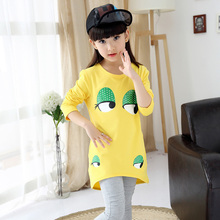 European Blouse Girls' Fashion Blouses Baby Printed Cartoon Girl Blouses Children Vestido Casual Blouses