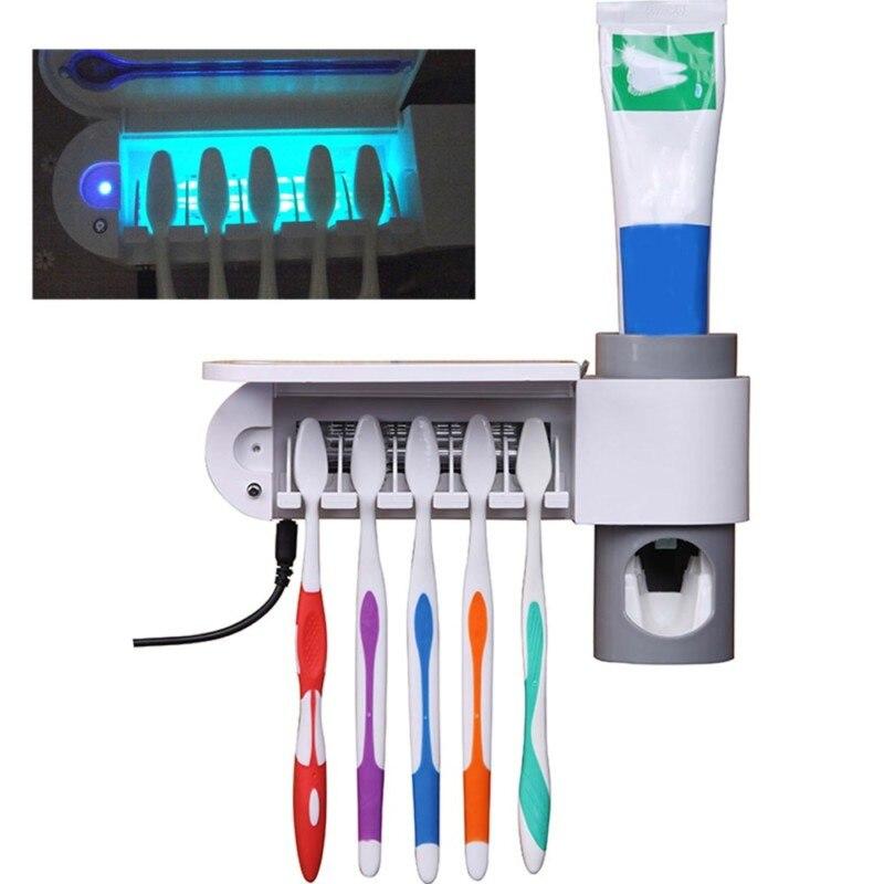 2 in 1 Antibakterielle UV-Licht Uv Zahnbürste Automatische Zahnpasta Spender Sterilisator Zahnbürste Halter Reiniger UNS Stecker
