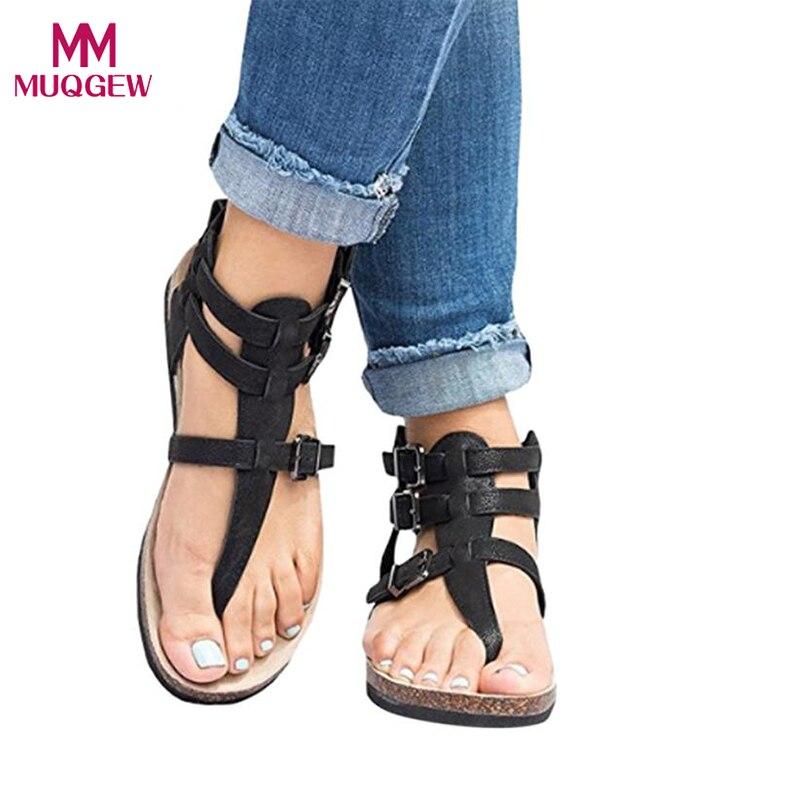 Ausdauernd Frauen Flache Schuhe Damen Rom Sandalen Mode Schnallen Flache Ankle Strand Schuhe Römischen Hausschuhe Weibliche Hohe Qualität Sandalen Freigabepreis