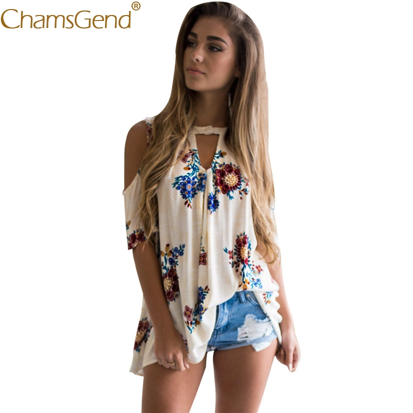 Free Shipping Womens V Neck Floral Print Off Shoulder Loose Shirt Ladies Casual T Shirt Tops 80521 Drop Shipping