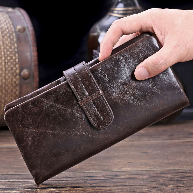 Vintage Genuine Leather Long Male Wallet Men Hand Take Bag Purse With Coin Pocket Nice First Layer Cowhide Notecase PR079037 new trend man long wallet top layer cowhide hand take bag quality card holder male purse business notecase pr089007
