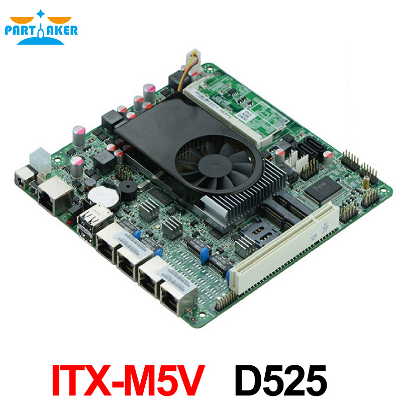 Carte mère pare-feu D525 ITX-M5V avec 4 ports ethernet 6 * USB/2 * COM/DC12V TDP13W