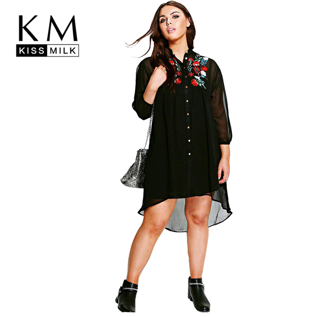de57cd85b90 Kissmilk Women Plus Size Vintage Rose Embroidery High Low Shirt Dress Long  Sleeve Chiffon Big Size Party Dress 3XL 4XL 5XL 6XL