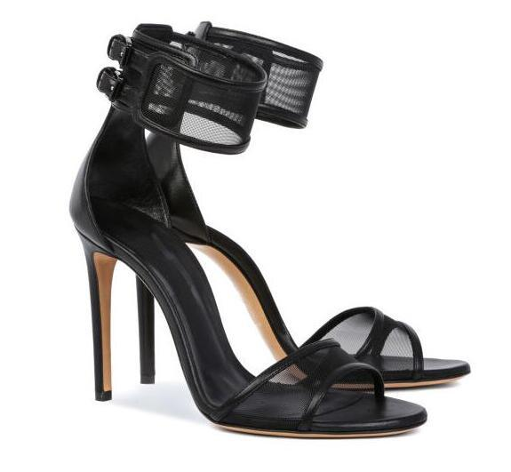 MIQUINHA Summer Hot Black Mesh Women Open Toe Sandals Ankle Buckles Ladies Sexy High Heels Cut Out Style Fashion Party Shoes