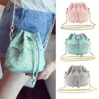 lace sweet lady bucket bag pu leather women bag Korean Lace fashion chain bag shoulder messenger bag Best gift for girls friends