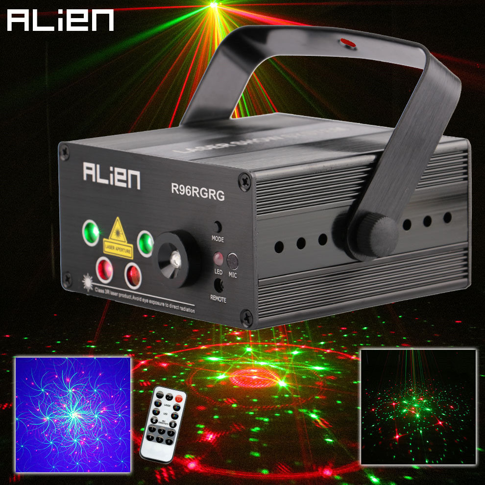 все цены на Alien LED Laser Stage Lighting 5 Lens 96 Patterns RG Mini Laser Projector 3W Blue Light Effect Show For DJ Disco Party Lights
